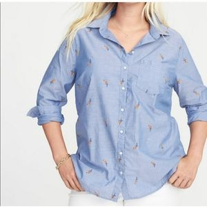 Old Navy Parrot Button Down Shirt